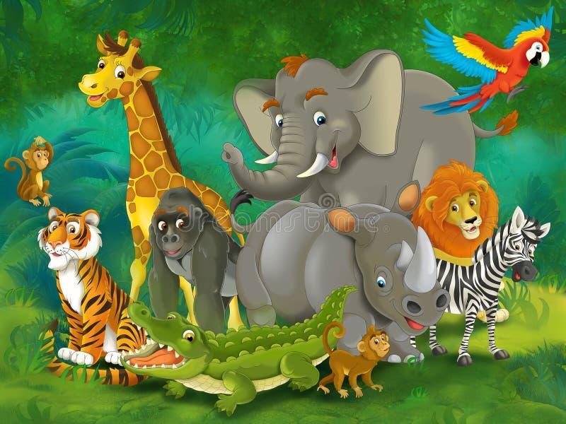 Jardim zoológico dos desenhos animados - parque de diversões - ilustração para as crianças ilustração royalty free
