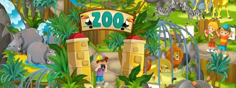 Jardim zoológico dos desenhos animados - parque de diversões - ilustração para as crianças ilustração stock