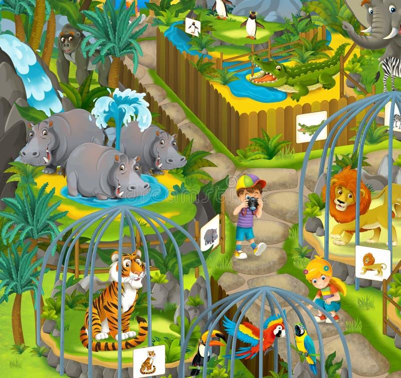 Jardim zoológico dos desenhos animados - parque de diversões - ilustração para as crianças ilustração do vetor