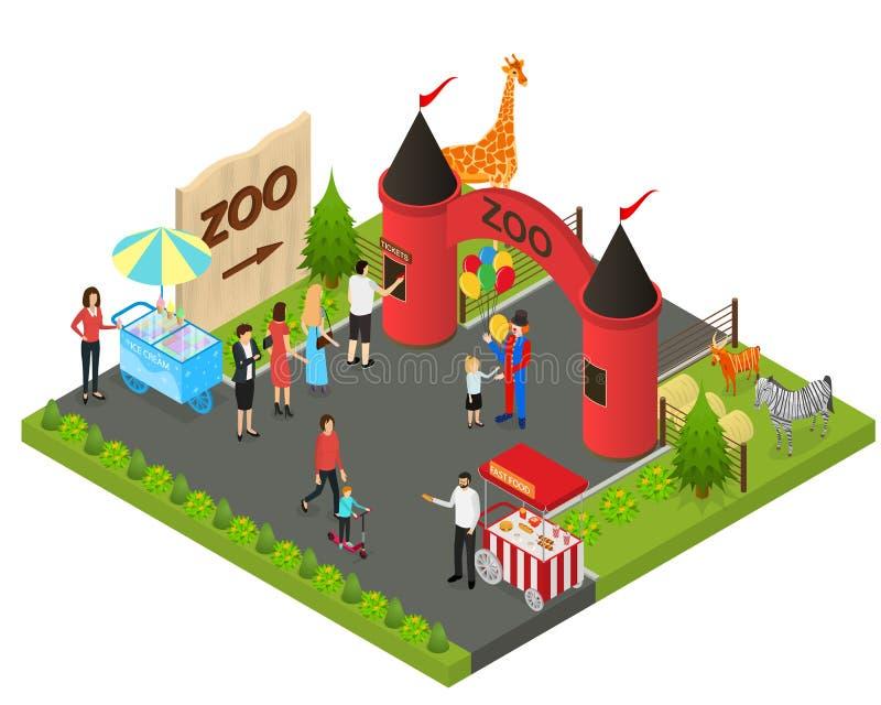 Jardim zoológico exterior com opinião isométrica selvagem do conceito 3d dos animais Vetor ilustração royalty free