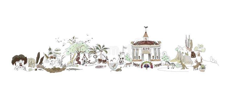Jardim zoológico, ilustração do parque de Safary, coleção da cidade ilustração stock