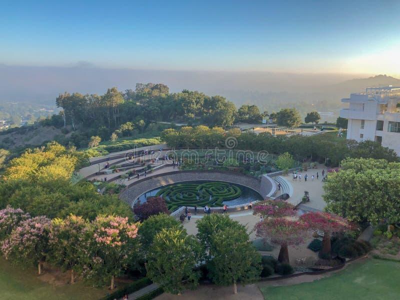 Jardin à l'intérieur du musée de centre de Getty à Los Angeles, la Californie, Etats-Unis photographie stock