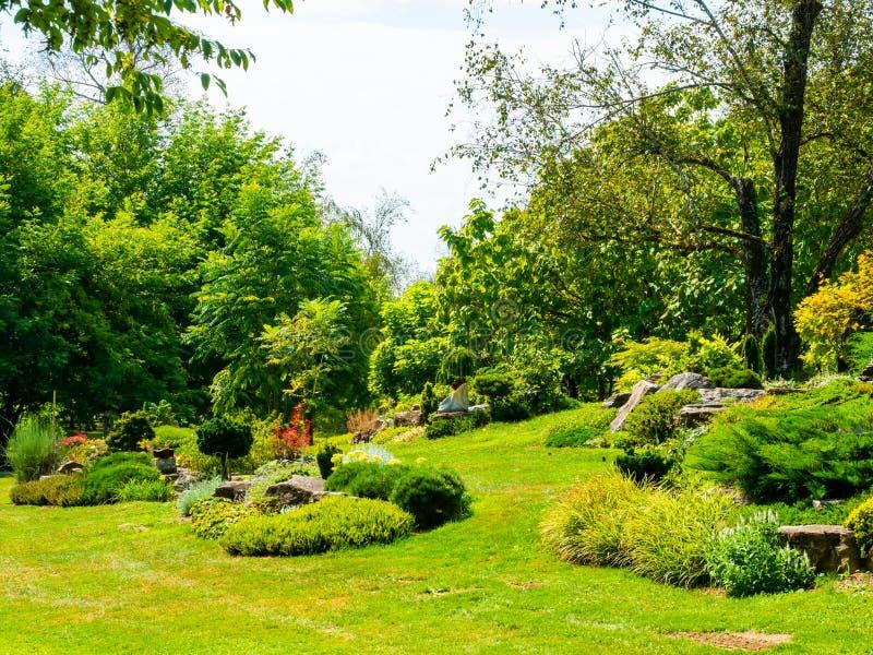 Jardin étonnant de beaucoup de plantes et de fleurs photographie stock