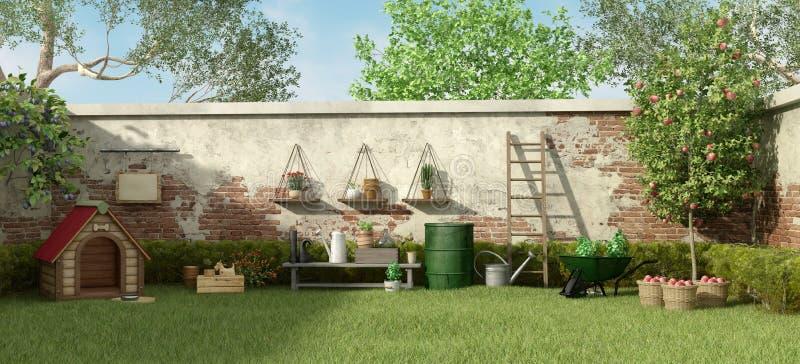Jardin avec des outils de niche et de jardinage illustration libre de droits