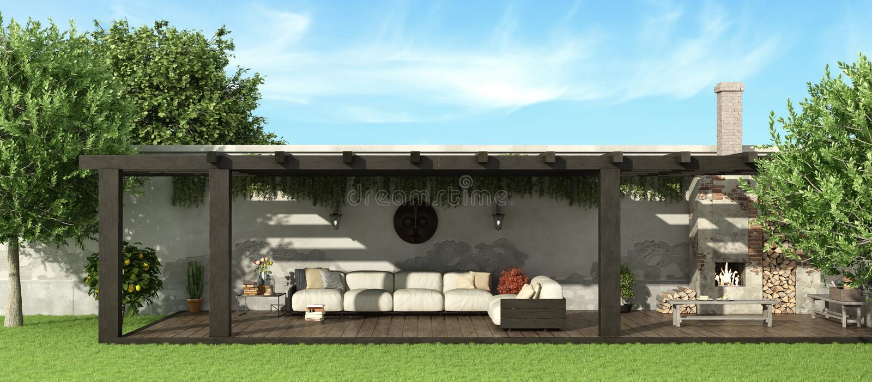 Jardin avec la pergola en bois illustration stock