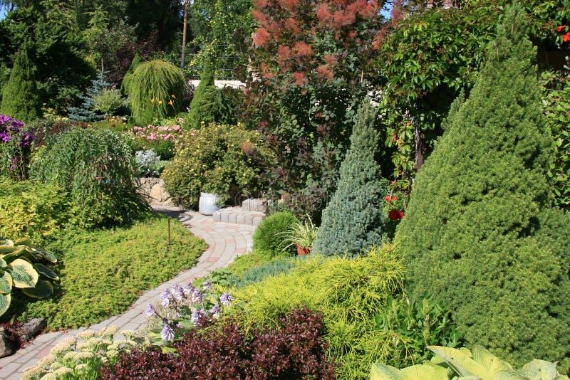 Jardin avec un chemin en pierre photos stock