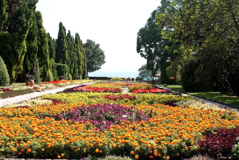 Jardin botanique avec les fleurs et la mer image stock