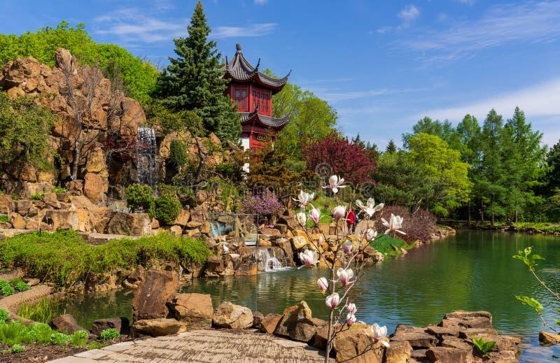 Jardin chinois au jardin botanique de Montréal photographie stock libre de droits