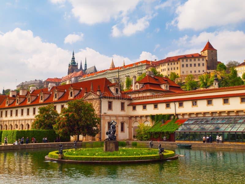 Jardin d'Albrecht de château de Wallenstein et de Prague photographie stock libre de droits