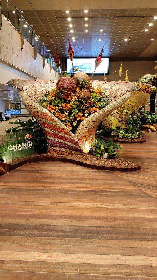 Jardin d'arrivée à l'aéroport international de changi, Singapour image stock