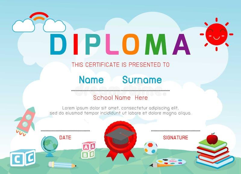 Jardin d'enfants de certificats et élémentaire, calibre de conception de fond de certificat de diplôme d'enfants d'école maternel illustration de vecteur