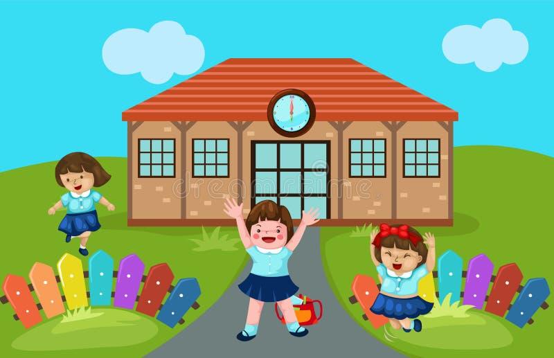 Jardin d'enfants mignon à l'école illustration stock