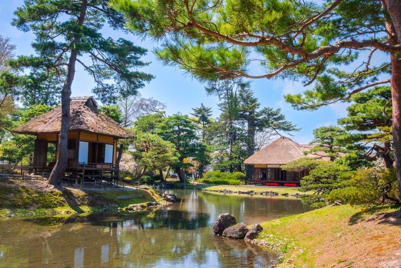 Jardin d'herbes aromatiques médicinal d'Oyakuen dans Aizuwakamatsu, Fukushima, Japon image libre de droits