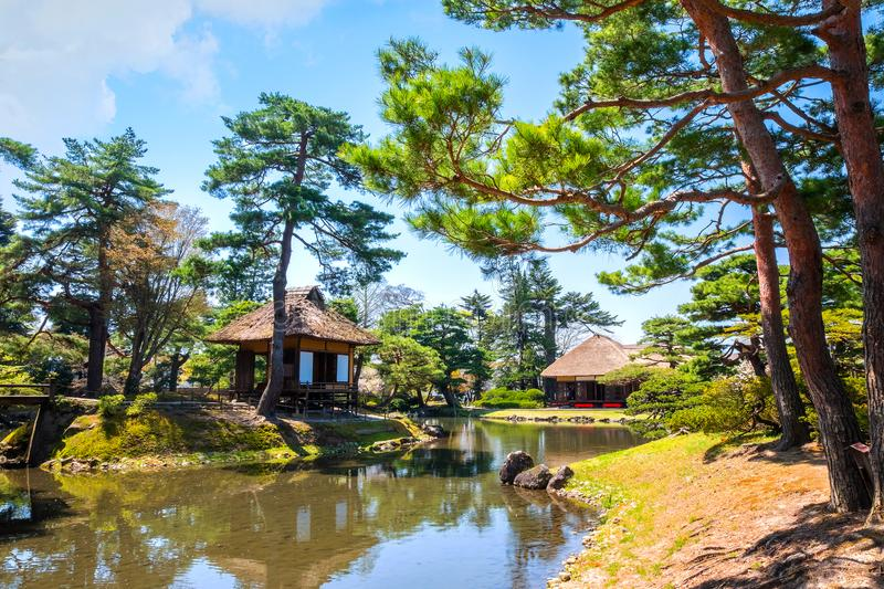 Jardin d'herbes aromatiques médicinal d'Oyakuen dans la ville d'Aizuwakamatsu, Fukushima, Japon images libres de droits