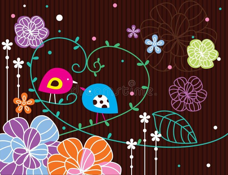 Jardin d'oiseau dans le brun illustration stock