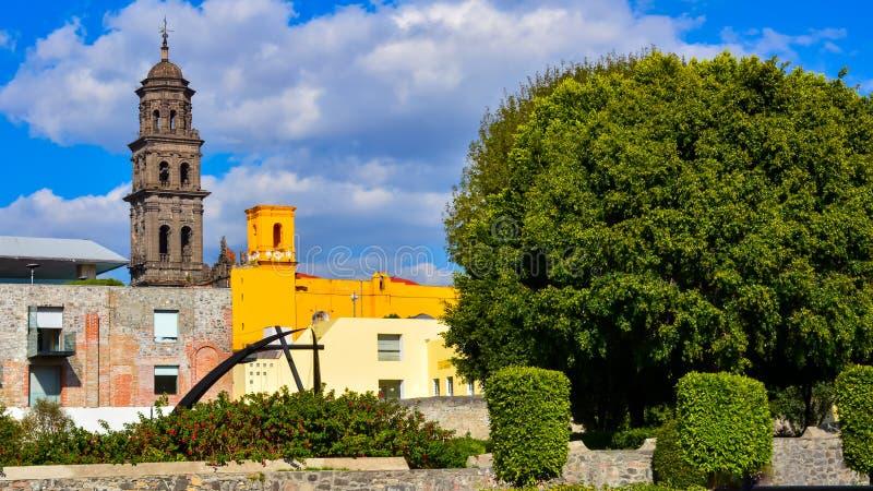 Jardin de cour à Puebla Mexique photographie stock libre de droits
