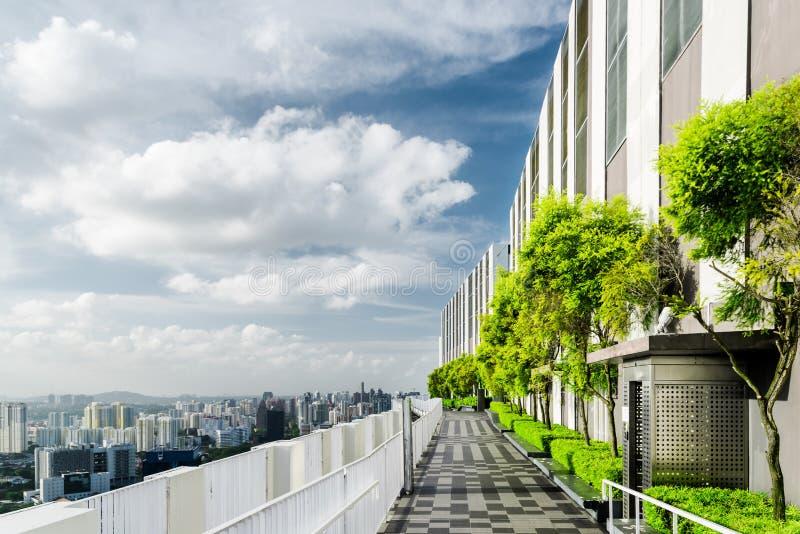 Jardin de dessus de toit ? Singapour Terrasse extérieure scénique avec le parc images libres de droits