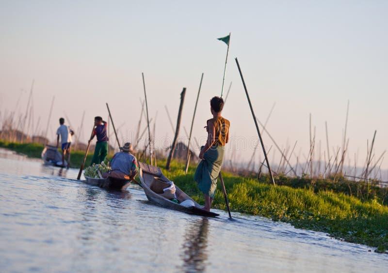 Jardin de flottement sur le lac Inle, état de Shan, Myanmar image libre de droits