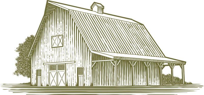 Jardin de gravure sur bois illustration de vecteur