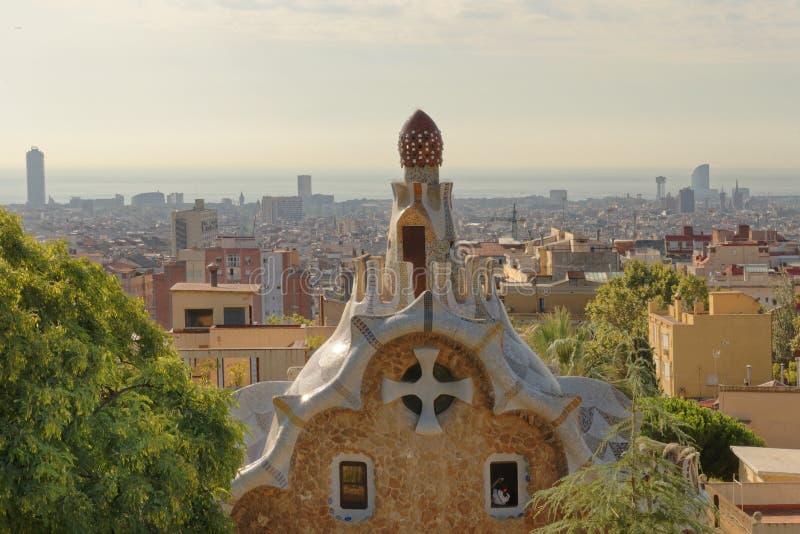 Jardin de Guell de parc à Barcelone, Espagne photographie stock