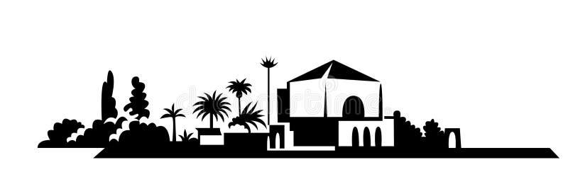 Jardin de Menara Silhouette noire de vecteur de paysage urbain Ville m?diterran?enne illustration stock