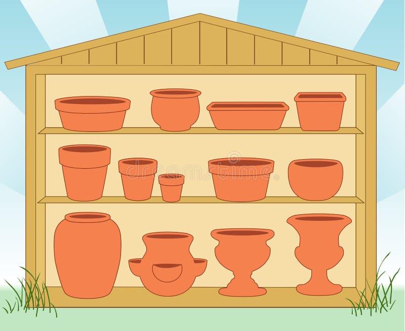 Jardin de poterie jeté (JPG+EPS) illustration libre de droits