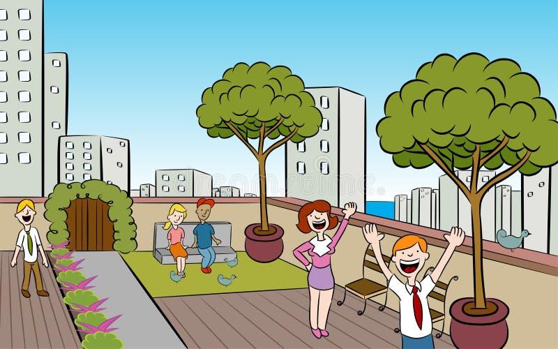 Jardin de ville de dessus de toit illustration stock