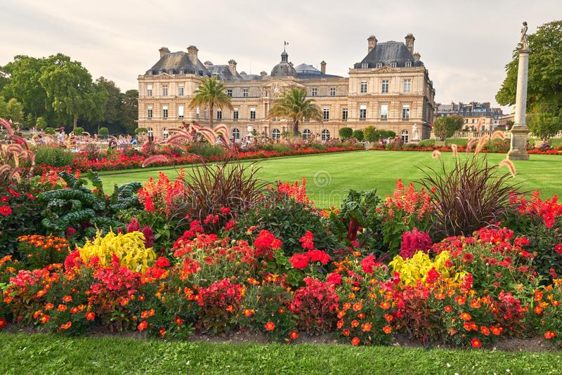Jardin Du Luxembourg and Palace in Paris France. royalty free stock photography