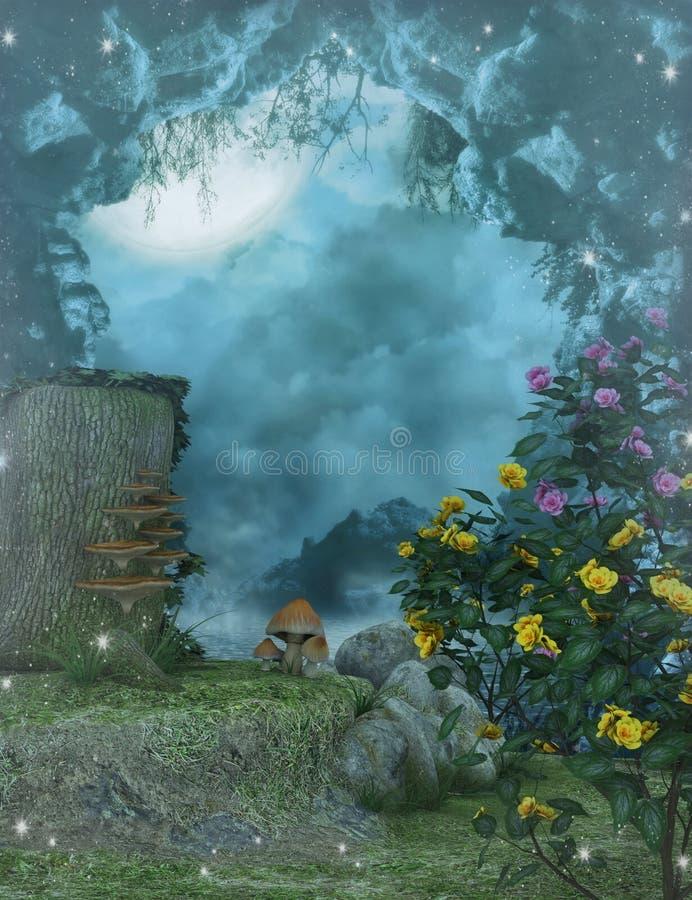 Jardin enchanté avec la lune illustration stock