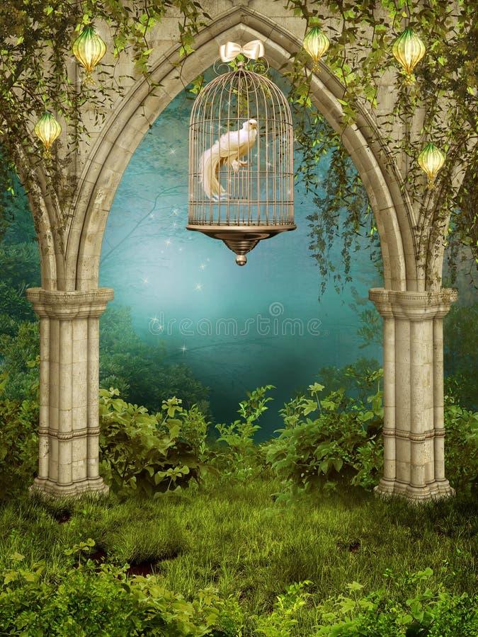 Jardin enchanté avec une cage illustration libre de droits