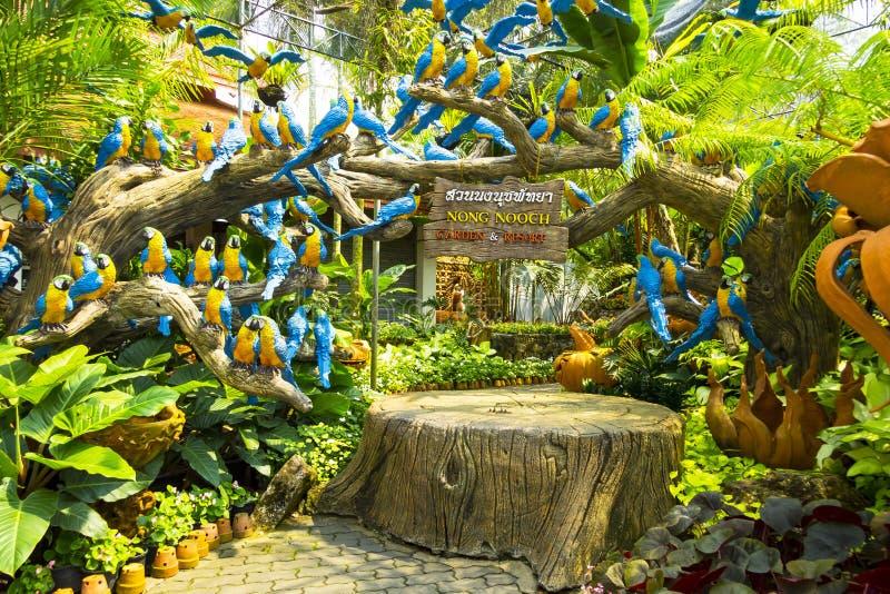 Jardin exotique Nong Nuch avec des plantes tropicales et des figurines de perroquet image libre de droits