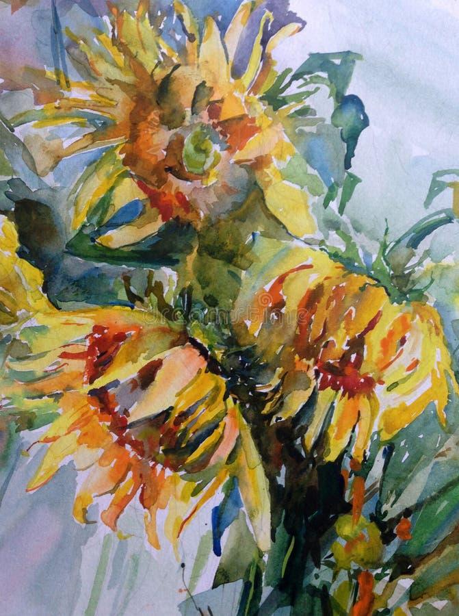 Jardin floral coloré de bouquet de tournesol de fleurs de fond d'abrégé sur art d'aquarelle beau illustration de vecteur