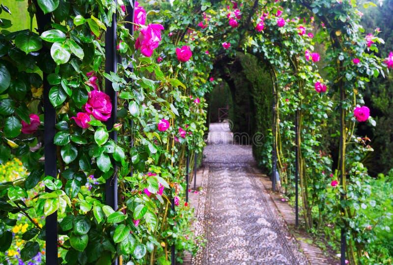 Jardin formel français chez Generalife grenade images stock