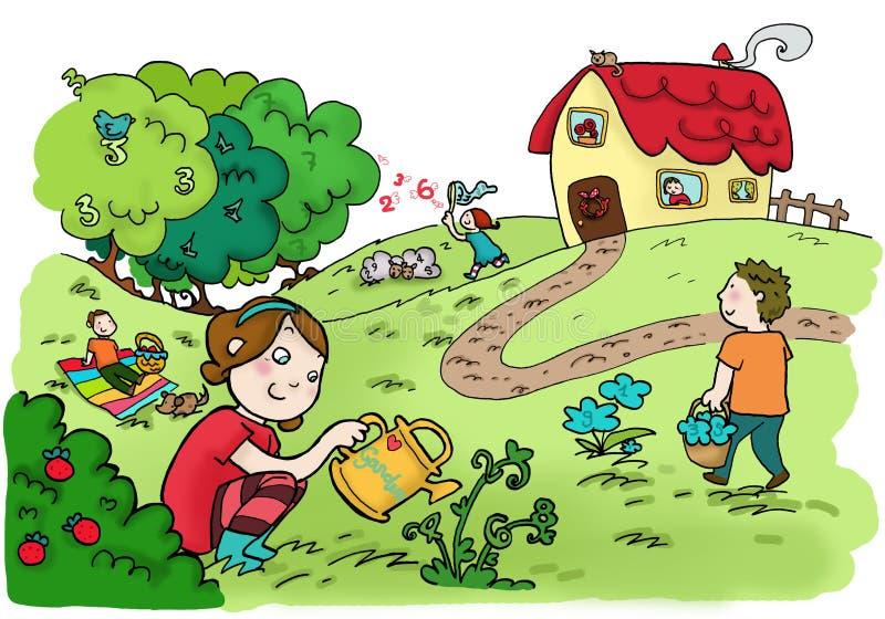 Jardin heureux de nombres magiques illustration libre de droits