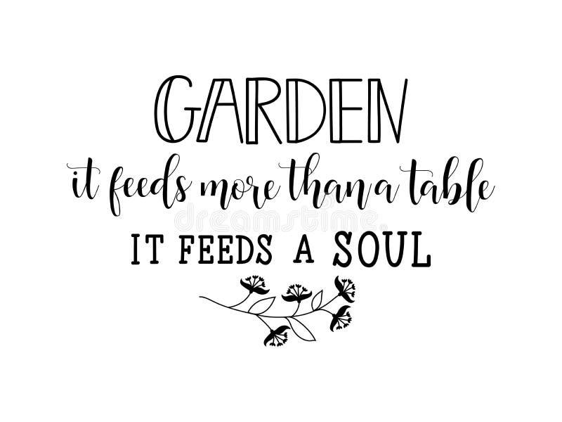 Jardin il alimente plus que l'ajournent alimente une âme lettrage Illustration de vecteur de calligraphie illustration libre de droits