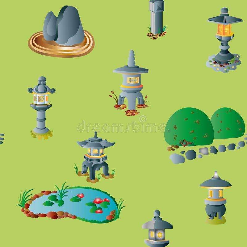 Jardin japonais avec le modèle sans couture de lanternes de pierre illustration stock