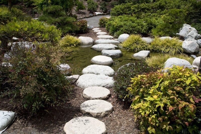 Jardin japonais d'amitié de conception d'allée de roches en parc San Diego de Balboa image stock