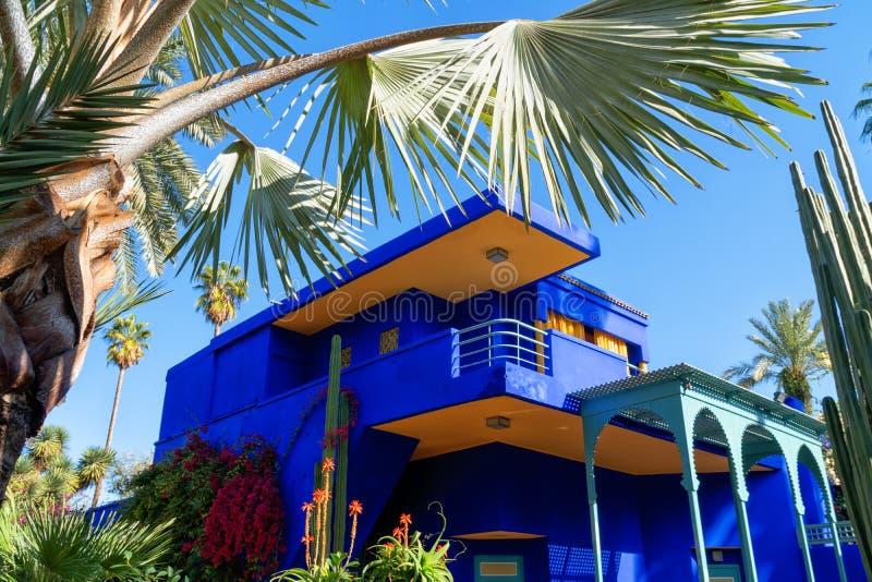 Jardin Majorelle de Yves Saint Laurent Señorío azul imágenes de archivo libres de regalías