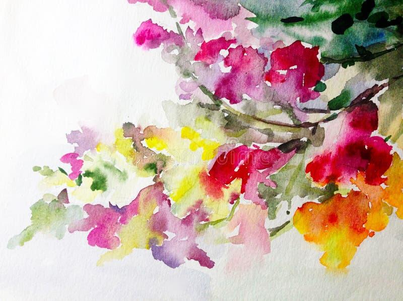 Jardin rouge de ressort de branche de fleur de fleur blanche de nature de fond d'art d'aquarelle d'été de jaune coloré de rose illustration libre de droits
