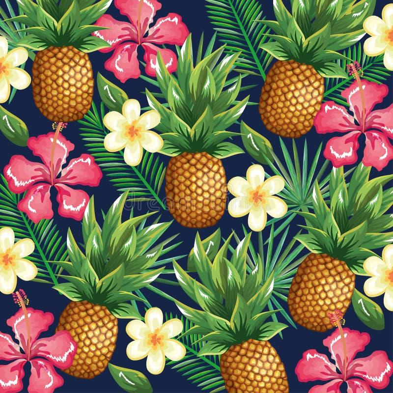 Jardin tropical avec l'ananas illustration de vecteur