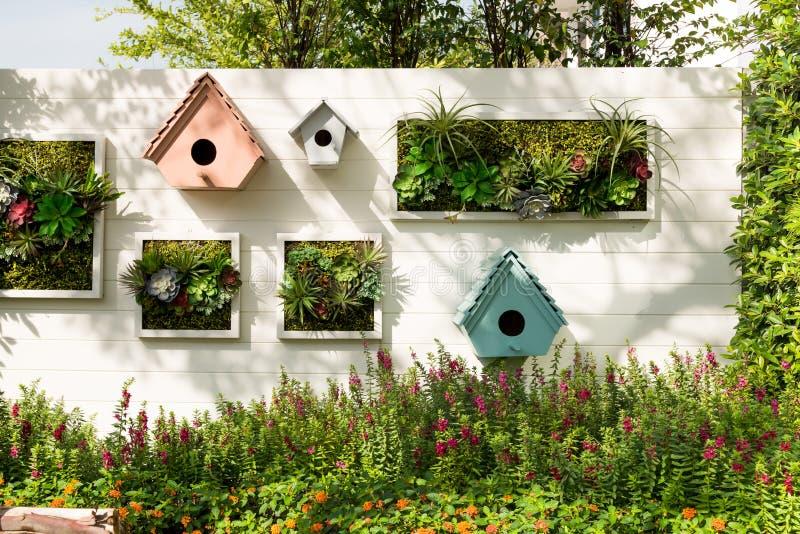 Jardin vertical décoré de mur, fond photos libres de droits