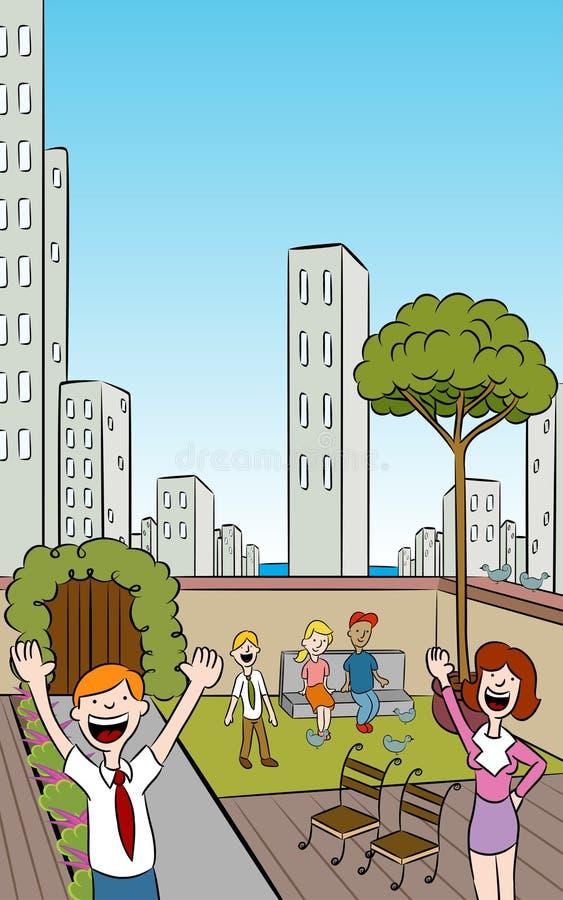 Jardin vertical de ville de dessus de toit illustration de vecteur