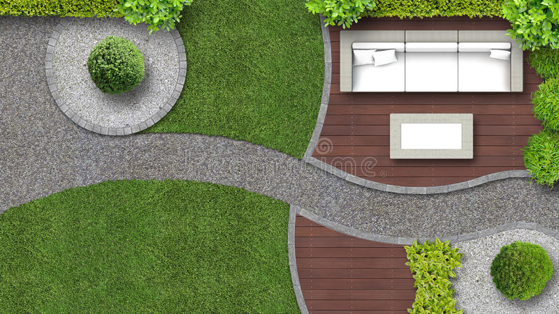 Jardin vu de ci dessus avec des meubles image stock image du incurv haie 85606649 - Par vue de jardin ...