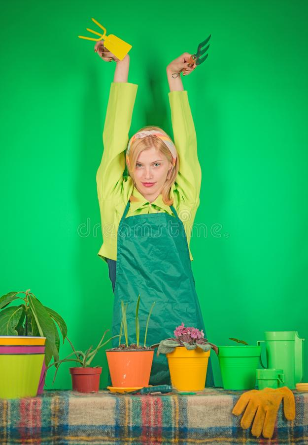 Jardinage blond drôle de jeune femme Fleurs de arrosage Femme de jardinier plantant des fleurs Blonde mignonne faisant du jardina images libres de droits