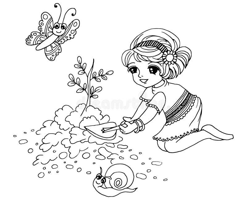 Jardinage de livre de coloration illustration de vecteur