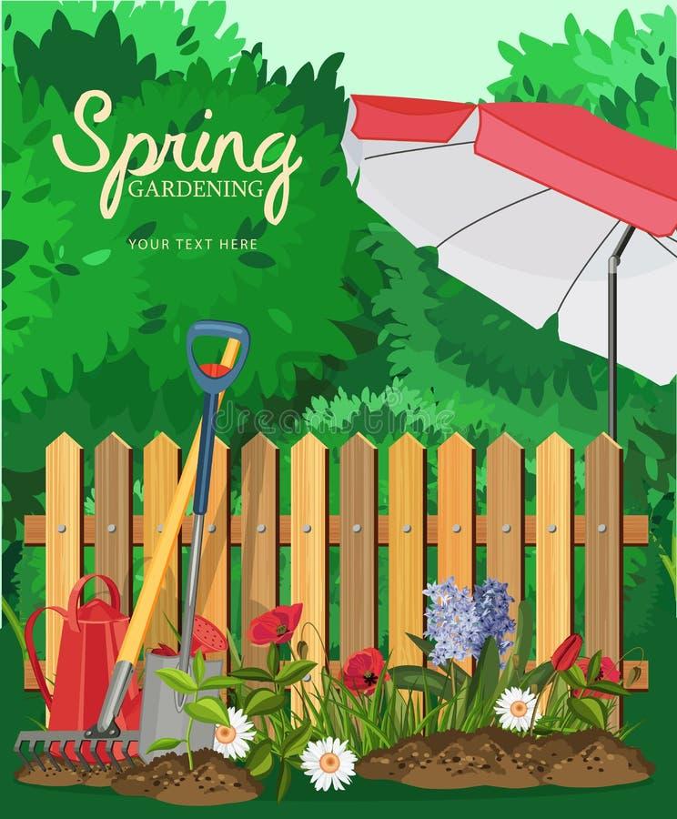 Jardinagem da mola Cartaz com um guarda-chuva da cerca e de praia ilustração royalty free
