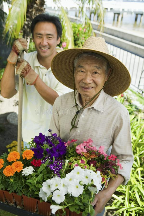 Jardinagem do homem sênior e do filho imagem de stock