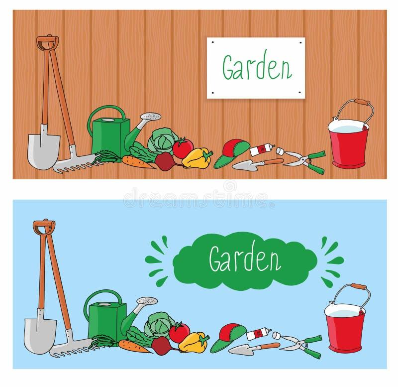 As Ferramentas E Os Vegetais De Jardim No Fundo Embarcam
