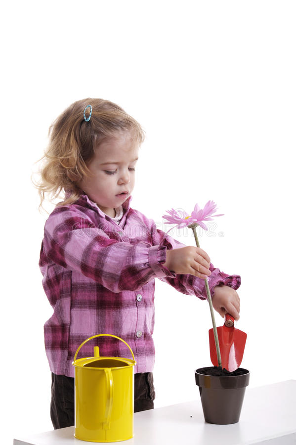 Jardinagem: menina que planta a flor cor-de-rosa fotografia de stock royalty free
