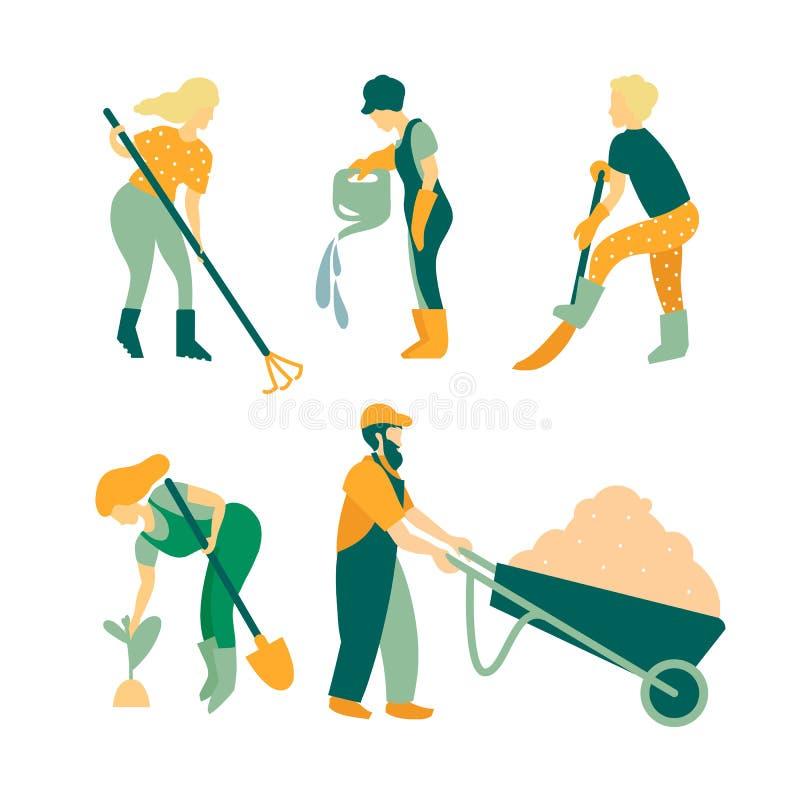 Jardinagem Um grupo de objetos e de povos envolvidos no cuidado das plantas Homens e mulheres dos jardineiro, ferramentas do cuid ilustração stock